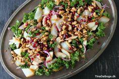 sund salat med grønkål granatæblekerner æble røget hellefisk