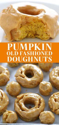 Homemade Doughnut Recipe, Pumpkin Donuts Recipe, Pumpkin Spice Cake, Donut Recipes, Pumpkin Recipes, Baking Recipes, Dessert Recipes, Pumkin Donuts, Desert Recipes