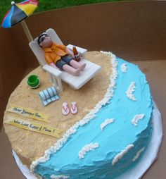 Here is another fun cake that we enjoyed making. This beach themed Mango Tango cake was for the surprise birthday party of a beach-lover. We made a fondant figure of the birthday boy relaxing on th… Birthday Cakes For Men, Ocean Birthday Cakes, Themed Birthday Cakes, Beach Themed Cakes, Beach Cakes, Cupcakes, Cupcake Cakes, Retirement Party Cakes, Cake Pops