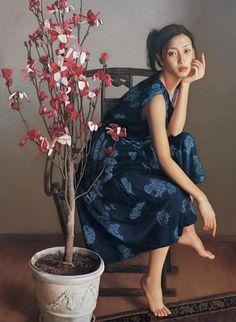 Artist: Li Gui Jun (李貴君), b. 1964 {contemporary figurative realism asian female flowers seated woman painting #loveart}
