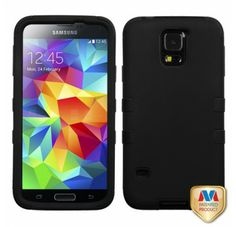 SAMSUNG Galaxy S5> Galaxy S5 Gummierter schwarz schwarz TUFF Hybrid telefonisch Schutzabdeckung