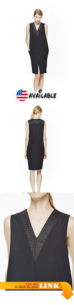 """B01EAUPEAG : 4 Corners of a Circle Women's V-neck Dress Large Black. 100% Silk with cotton/nylon embelishment. Made in USA. Front slit. Size Small measures 41"""" from highest shoulder point #Apparel #DRESS"""