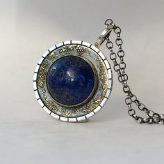 Lapis Lazuli Medallion - Sterling Silver, 18k Gold and Lapis Lazuli Necklace, One of a Kind Handmade Contemporary Jewellery
