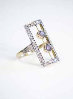 "Oona ""Deco diamonds ring"" made of 14-kt yellow gold, paved diamonds, spinels and silver"