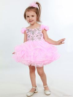 Pink Girls Pageant Dresses 2017 with Flower Sleeves And Tiered Skirt Shining Organza Cupcake Toddler Pageant Dress Custom Made Infant Pageant Dresses Little Girls Pageant Dresses Baby Pageant Dresses Online with $123.43/Piece on Grace2's Store | DHgate.com