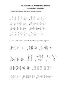 Guía de ejercicios de operaciones combinadas de fracciones.
