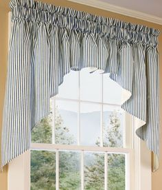 Country Curtains in Massachusetts makes all kinds of curtains, bedding, home decor, etc.  Quality worksmanship and any size you need.  Absolutely love the blue ticking material and the white cotton.  Quality is well worth the price..I have never been disappointed.