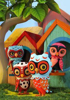 Owl City, Shroomzee and the Woody Mecha by Teodoru Badiu, via Behance