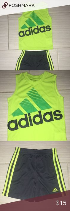 Boys Adidas Set Boys Adidas Set (shirt with shorts) Size: 2T Colors: Green/Dark Grey  Pre owned and in like new condition. No stains or flaws.   Visit my closet for other similar listings. Bundle and save 💕  Comes from a smoke/pet free home. adidas Matching Sets