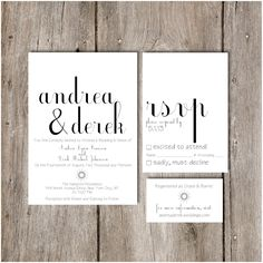 Simple Chic Script Wedding Invitation Package - DIY Do it Yourself Printable Invitation. $36.00, via Etsy.