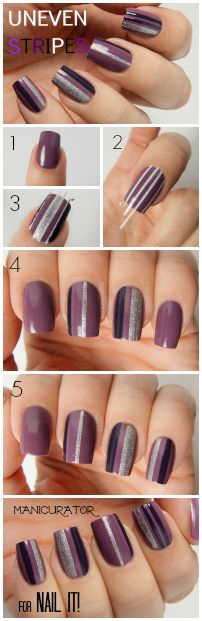 Purple uneven Stripe Nails by the Manicurator for Nail It! Magazine