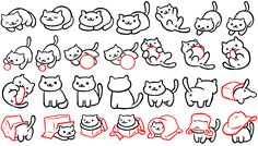 Cat poses from the cute app Neko Atsume! EDIT: Updated with 14 NEW poses! I can't believe how popular it got lol These poses were compiled for: --person. Chibi Cat, Neko Cat, Chibi Girl, Kawaii Cat, Cute Chibi, Animal Drawings, Cute Drawings, Simple Cat Drawing, Cat Face Drawing