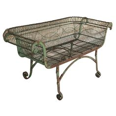 Early English wirework and iron garden seat