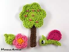 Crochet patches – Crochet Applique Embellishments – a unique product by HomeArtist on DaWanda