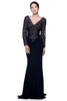 Long sleeves Navy Mother of the Bride Groom Dress Evening Gown