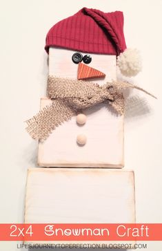 Life's Journey To Perfection: 2X4 Snowman Decoration Tutorial