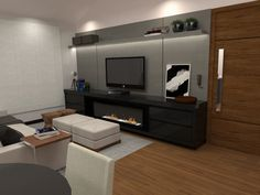 Vista painel TV sala de estar integrada com cozinha e jantar - opção painel cinza