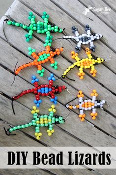 Repinned: This will be a perfect craft for kids this summer - - there's even a video to walk you through the steps - - DIY pony bead lizard animals