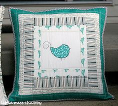 Little Miss Shabby - Pillow with Aurfil 12 wt thread for straight line quilting.