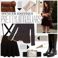 Pretty Little Liars: Spencer Hastings by fran-tasy on Polyvore featuring H&M, Rupert Sanderson, The Cambridge Satchel Company, Chanel, Otazu, Anja, women's clothing, women's fashion, women and female