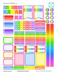 Free Printable Rainbow Planner Stickers for Erin Condren Planner