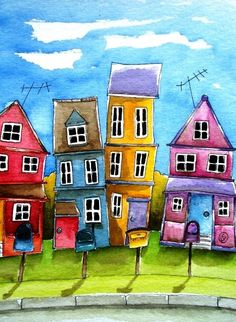 Whimsical homes series ACEO print - This beautiful artwork is printed on Premium Plus Photo gloss paper 300 gm2 and ships in a protect sleeve.