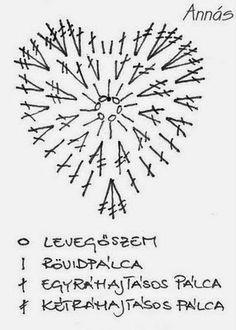 Crochet heart - Horgolt szív Crochet heart - Horgolt szív Learn the rudiments of how to needlecraft Crochet Diagram, Crochet Chart, Thread Crochet, Love Crochet, Crochet Motif, Crochet Designs, Crochet Flowers, Crochet Stitches, Crochet Patterns