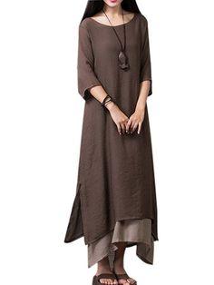 Vintage Women Patchwork Half Sleeve Split Solid Loose High Low Dresses