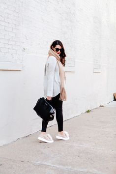 Oversized scarf with sweater and pom pom sneakers on Kendi Everyday.