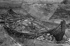 The Viking Period Oseberg Ship (AD 820) Norway as it looked during excavation in 1904 [507 x 338]