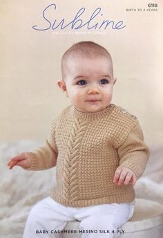 4 ply Button Shoulder Baby Sweater Knitting Pattern Birth to 3 Years Sublime 6118 Boys Knitting Patterns Free, Baby Sweater Knitting Pattern, Knitted Dolls, Knitted Bags, Baby Boy Sweater, Moss Stitch, Boys Sweaters, Vintage Knitting, Knitting Projects