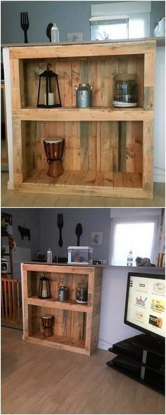 You can also make the best use of the wood pallet into some finest creation of the shelving cabinet with the portions of two shelves in it. As it is all evident in the image the whole designing of the shelving stand has been featured upon with the classy flavors of wood pallet designing work.