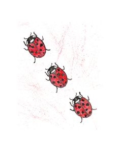 Ladybug watercolor original painting, ladybug art, bug nursery art - 8X10