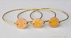 DIY Wood Monogram Wire Bracelets madeinaday.com