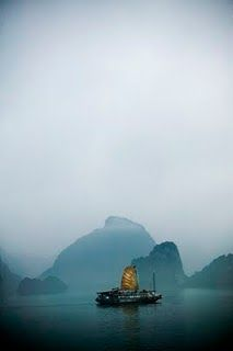 Junk boat on Halong Bay, Vietnam // This is what Mike and I will be doing for two days/nights at the end of December!