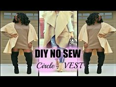 This easy No-Sew DIY was inspired by the growing trend of the sleeveless coat/vest. Duster Jacket, Vest Coat, Diy Clothes And Shoes, Sleeveless Duster, Plus Size Sewing, Vest Pattern, Cape Pattern, Sewing Coat, Idee Diy