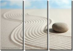 Framed Huge 3 Panel Peaceful Zen Stone Giclee Canvas Print