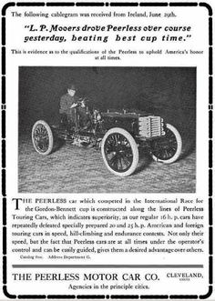 1903 Peerless Automobile Advertisement