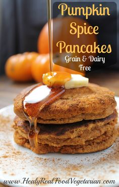These grain free pumpkin spice pancakes are so tasty! I think the addition of the pumpkin puree really makes them fluffy and delicious!