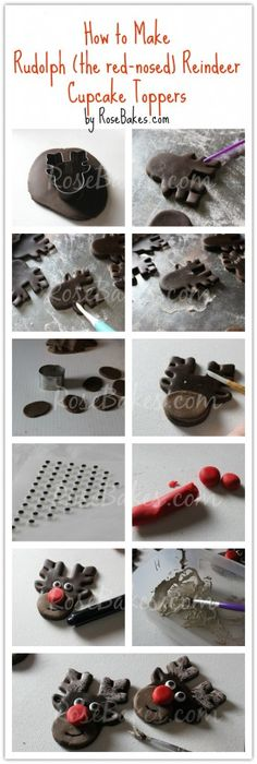 How to Make Rudolph Reindeer Cupcake Toppers