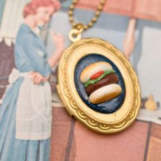 Hamburger Cameo Necklace #junkfood #jewelry #necklace