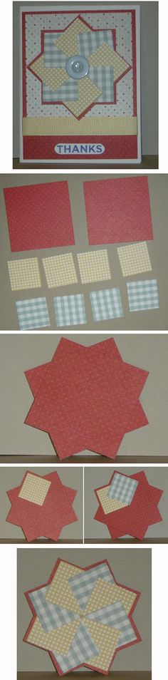 "By Kate. Pinwheel Card. White card base. Red mat 5 1/4"" x 4."" Patterned mat 4 1/2"" x 3 3/4."" Pinwheel base: two 2 5/8"" squares adhered at right angles. Eight patterned paper 1 1/4"" squares, 4 of each design, adhered in alternate patterns on the pinwheel base. Note: Adhere only the right side of the first square to the base so you can tuck the last square under the first. Use a button or brad for the center."