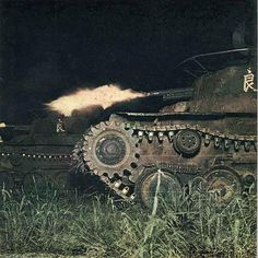 "Type 97 ""chi ha"" tanks of the Japanese Army in a night-fire fight."