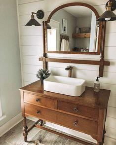 Vintage Bathroom Vanities, Vintage Sink, Vintage Dressers, Vintage Bathrooms, Glamorous Bathroom, Dresser Vanity Bathroom, Furniture Vanity, Bathroom Furniture, Diy Bathroom Decor