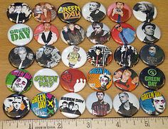 "Punk Rock Buttons | 30 1"" Green Day Band Pins Buttons Punk Rock Pop Pinback Badges Flair ..."