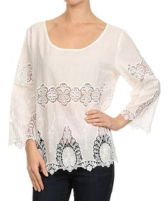 Karen T. Design Off-White Embroidered Scoop Neck Top - Women | zulily