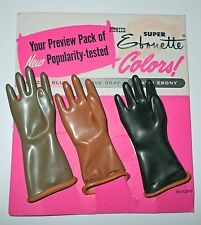 1950s Salesman Sample Advertising Miniature Ebonette Rubber Gloves on Orig Card