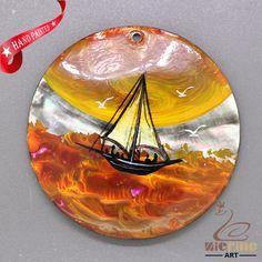 Beach Nautical Pendant Black Lip Shell Pendant  Hand Painted Sailboat ZL303248 #ZL #Pendant