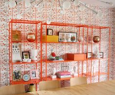 wallpaper, modern, wall storage, abm, a beautiful mess Retro Dining Rooms, Interior Styling, Interior Design, Colourful Living Room, Room Planning, Beautiful Mess, Wall Storage, Room Accessories, Commercial Interiors