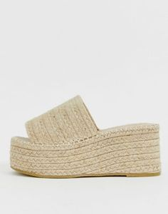 RAID Melody natural espadrille flatform slides at ASOS. Chunky Loafers, Slingback Mules, High Heels, Shoes Heels, Block Heel Shoes, Asos, Moda Online, Fred Perry, Espadrilles